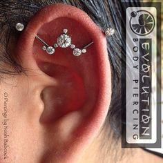 Fresh #industrialpiercing with custom designed by me #titanium jewelry by #anatometal #DesignerBodyJewelry Innenohr Piercing, Cool Ear Piercings, Types Of Ear Piercings, Body Jewelry Piercing, Ear Jewelry, Jewellery, Unique Piercings, Fine Jewelry, Tongue Piercings