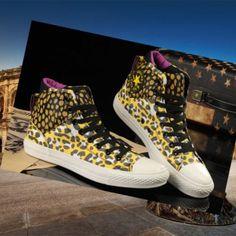Leopard print styles double Converse All Star shoes Chuck Taylor High Cheetah Yellow NIB Superiores oroen