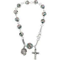 Smooth Cloisonne Rosary Bracelet Religious Jewelry by SugaredJewels on Etsy