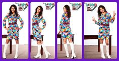 Pop art 60s 70s Vintage elephant bright groovy dress LS Country Miss sz 8 pointed collar on Etsy, $49.00