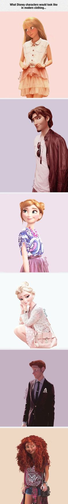 If Disney characters wore modern clothing - Cute, but Rapunzel just doesn't look right with bangs. Also if Rapunzel had bangs, wouldn't they have turned brown? Disney Pixar, Walt Disney, Cute Disney, Disney And Dreamworks, Disney Magic, Humour Disney, Funny Disney Memes, Disney Jokes, Funny Memes