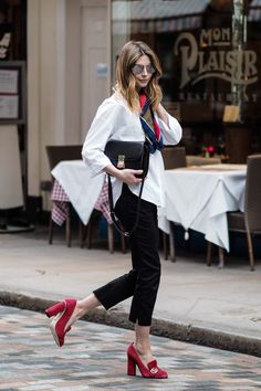 ankle grazers, white shirt, silk scarf, celine box bag, red suede gucci shoes…