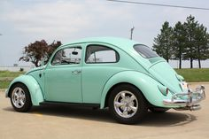 1961 volkswagon beetle.  I bought mine from my dad for $250. It was this color. I loved this bug!!! cp