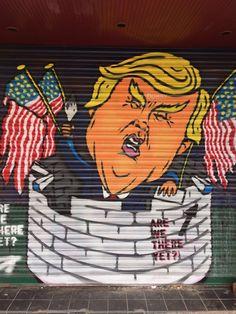 Trump - painted shutter - Bristol