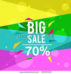 Big sale promo department store, shining banner on colorful background. - stock vector