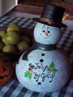 Snowman Gourd Art