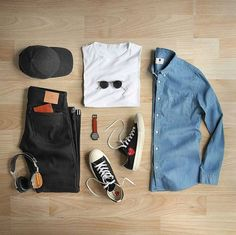 Stylish Grid by @thepacman82 Follow @stylishgridgame www.StylishGridGame.com Brands ⤵ Shirt: @nonationality07 T-Shirt: @handvaerk Jeans: @shockoe_atelier Shoes: @commedesgarcons × @converse Watch: @miansai Sunglasses: @oliverpeoples Wallet: @blackbearleather Hat: @varsityheadwear Headphones: @lstnsound