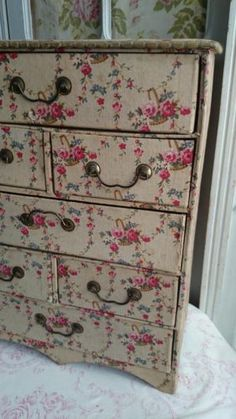 Fabric - Covered Cabinet - great way to cover an old piece of furniture using fabric and Mod Podge or liquid starch.