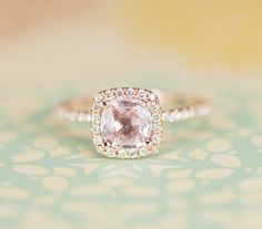 Peach Pink Cushion Sapphire Diamond Engagement Ring 14K Rose Gold.