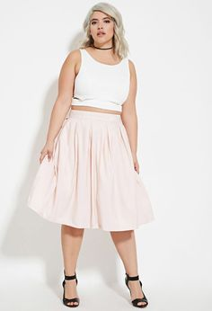 $25 Plus Size Pleated A-Line Midi Skirt