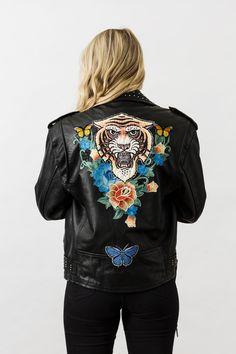 Denim and Bone Tiger embroidered vintage leather jacket