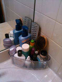Use A Corner Shower Caddy For A Sink Top Organizer. This Will Help Shave  Some