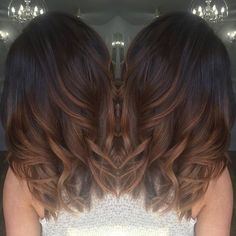 warm chocolate brown hair with caramel highlights