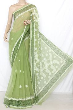 Menhdi Green Designer Hand Embroidered Lucknowi Chikankari Saree (With Blouse - Georgette) 13746
