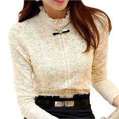 Minetome Ladies Lace Long Sleeve Blouse Slim Fit High Collar Lining Ol Business Shirt ( Beige UK 10/12 EU M ) Minetom® http://www.amazon.co.uk/dp/B00V6F0ZK8/ref=cm_sw_r_pi_dp_jX5cwb0ZCV24S