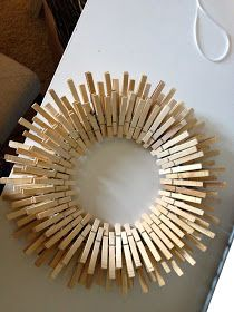 "Overthrow Martha: ""Star Burst"" Laundry Room Clothespin Wreath DIY Tutorial"