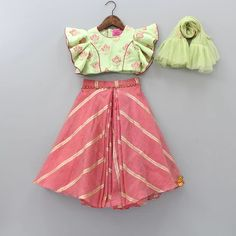 Pre Order: Green Top And Ghagra With Frilly Dupatta Frock Design, Baby Dress Design, Kids Dress Wear, Kids Gown, Baby Frocks Designs, Kids Frocks Design, Baby Girl Party Dresses, Little Girl Dresses, Birthday Dresses