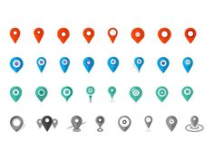 ⬇ Free download: 32x Pins Location. Icons Set #Freebies #webdesign #icons