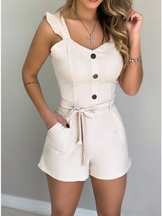 Style:Fashion Pattern Type:Solid Material:Polyester Neckline:V-Neck Sleeve Style:Sleeveless Length:Regular Occasion:Casual Package Note: There might be difference according to. Rompers Women, Jumpsuits For Women, Trend Fashion, Fashion Outfits, Estilo Fashion, Summer Romper, Womens Fashion Online, Pattern Fashion, Teen Fashion