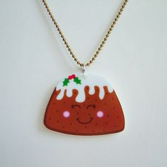 Cute Christmas Pudding Acrylic Necklace,