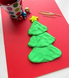 Playdough fine motor Christmas tree activity for kids