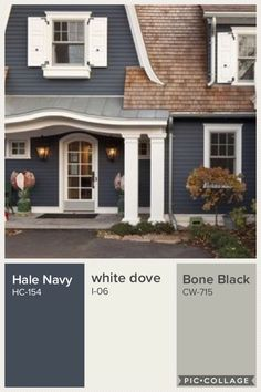 Love this color combo but switch the blue and the bone black Colonial House Exteriors, Victorian Homes Exterior, Craftsman Exterior, House Exterior Color Schemes, Exterior Paint Colors For House, Exterior Colors, Interior Paint Colors For Living Room, Paint Colors For Home, House Siding