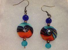 orange and blue lampwork