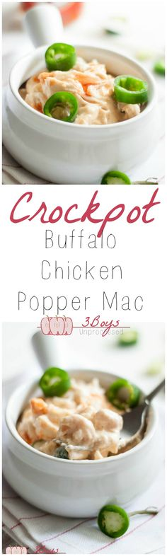 Crockpot Buffalo Chicken Popper Mac from 3boysunprocessed.com