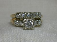 Vintage Wedding Rings Set Gorgeous Mid Century By AuldBaubles
