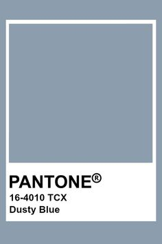 Dusty Blue- This color has a lighter value and a lower chroma. Paleta Pantone, Pantone Tcx, Pantone Swatches, Color Swatches, Pantone Colour Palettes, Pantone Color, Blue Colour Palette, Colour Schemes, Stoff Design