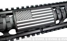 Custom Gun Rails (CGR) Large Laser Engraved Aluminum Rail Cover - U.S. Flag Grey (Stars Left)