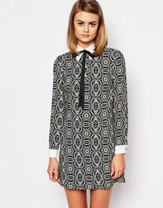 Reclaimed Vintage | Reclaimed Vintage X Liquid Lunch Shift Dress With Collar Detail at ASOS