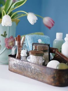 A cool way to store all the things you use on a daily basis without letting them clutter your countertop.  Also easy to move for cleaning.  #bathroom