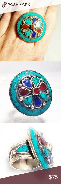 "VTG  Turquoise, Lapis & Coral Gigantic Silver Ring Gorgeous Vintage Turquoise, Lapis & Coral Gigantic Silver Ring-Size 7.5. It looks like there is a hallmark,  but I can't make it out. Tests faintly for sterling,  so it's most likely 900 silver. The face measures approximately 1.5"" across.  True statement piece in excellent condition! Vintage  Jewelry Rings"