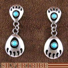 f9d1215e2 Native American Indian Jewelry Turquoise Silver Bear Paw Earrings AS48329  #nativeamericanindianjewelry Indian Earrings, Big