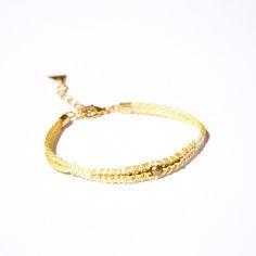 Bracelet tissage perle doré, cordon blanc et doré -Bijoux ENORA-