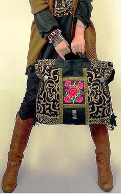 Original Design Thai Style  Embroidery Handbags Ethnic Embroidered Tote