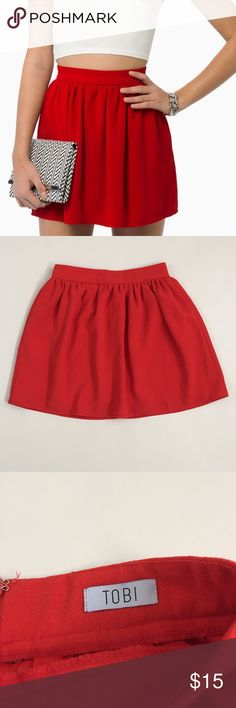 """Tobi red cabrillo skirt size Small Tobi red cabrillo skirt. High waisted fit. Like new. Fully lined. Hidden zipper up back. Size Small. 13.5"""" across waist and 15.5"""" long. Tobi Skirts"""