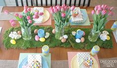 A Festive And Affordable Easter Dinner Celebration! - One Good Thing by Jillee Easter Dinner, Easter Brunch, Easter Party, Dinner Party Decorations, Easter Table Decorations, Easter Decor, Easter Ideas, Diy Ostern, Coloring Easter Eggs