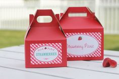 Set 10 Red Gable Boxes  with Strawberry picnic Label - 8x5x5 - lunch box - party by HHpaperCO on Etsy https://www.etsy.com/listing/224683688/set-10-red-gable-boxes-with-strawberry