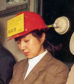 Suction Sleep Helmet - Hey - It's a hat and it can unstop your toilet, too! Useless Inventions, Japanese Inventions, Crazy Inventions, Awesome Inventions, Inventions Folles, Ideas Para Inventos, Japan Funny, Weird Japan, Asian Humor