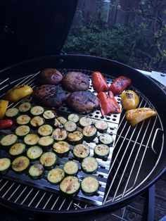 Grilling zucchini, bell peppers, and portabellas to make the Grilled Portabello & Goat Cheese sandwiches on p.160 of Weber's Art of the Grill
