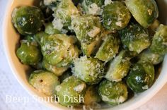 Creamed Brussels Sprouts - Brussels sprouts, steamed first, then sauteed in butter and cream, and finished with a bit of salt, pepper and Parmesan.