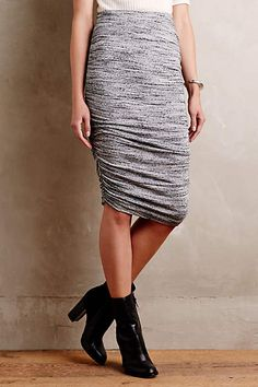 LOVE! Ruched skirts/dresses compliment my curves. I have a full length, long sleeve, dark item like this style that I love!
