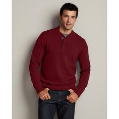 Eddie Bauer Mens Signature Cotton Henley Sweater