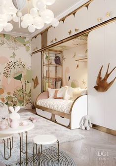 Fairy-tale world in a child's bedroom for girls. The furniture will be made acco. - Fairy-tale world in a child's bedroom for girls. The furniture will be made according to our auth - Kids Bedroom Designs, Kids Room Design, Kids Bedroom Girls, Luxury Kids Bedroom, Rustic Girls Bedroom, Luxury Nursery, Childs Bedroom, Home Interior, Interior Design
