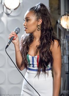 Elegant: Leigh-Anne kept it simple in a white jumpsuit with striped detailing... Mixed Girl Hairstyles, Braided Hairstyles, Girl Hair Colors, Mixed Girls, Little Mix Hair, Little Mix Girls, Mix Photo, Sleek Ponytail, Your Hair