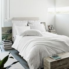 Lille Bed Linen - White/Grey from The White Company
