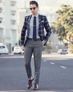 How to wear: navy plaid wool blazer, grey dress shirt, grey plaid wool Men Fashion Show, Mens Fashion Week, Mens Fashion Suits, Men's Fashion, Fashion Clothes, Latest Fashion, Fashion Outfits, Mens Dress Pants, Men Dress