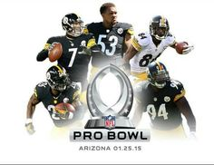Steelers running back Le'Veon Bell, wide receiver Antonio Brown, center Maurkice Pouncey, quarterback Ben Roethlisberger, linebacker Lawrence Timmons have been selected to the 2015 Pro Bowl team Here We Go Steelers, Steelers Football, Football Helmets, Steelers Stuff, Nfl Pro Bowl, Pittsburgh Sports, Steeler Nation, Football Photos, Arizona Cardinals